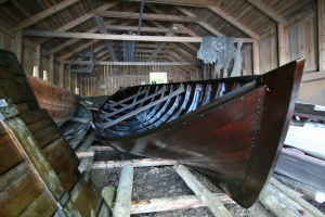 pine tar treated wooden boat